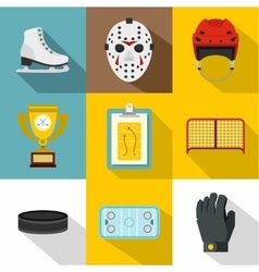 Canadian hockey icons set flat style vector
