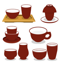 chinese tea utensils set isolated set on vector image