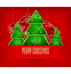 christmas ornament red background 10 SS 2 v vector image vector image