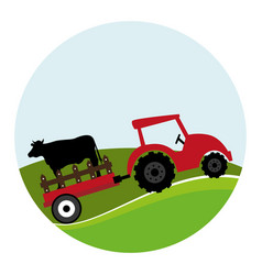 circular landscape and tractor with trailer with vector image