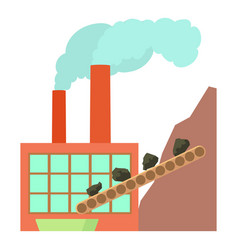 Coal factory icon cartoon style vector