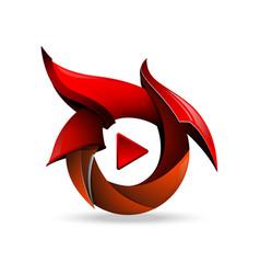creative concept of play button icon blade vector image