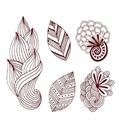 Creative nature collection in zentangle style vector image