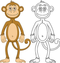 Cute Monkey With Lineart vector image vector image