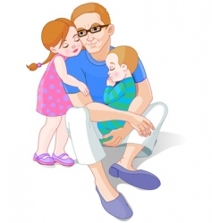 father and his children vector image vector image