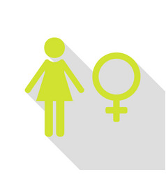 female sign pear icon with flat vector image