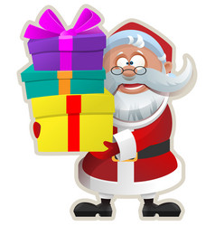 funny santa keeps box with gift christmas sticker vector image