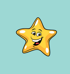 gold star cute smiley face character vector image vector image