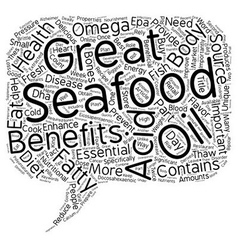 Great health benefits of seafood text background vector