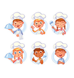 happy smiling chef cook collection vector image