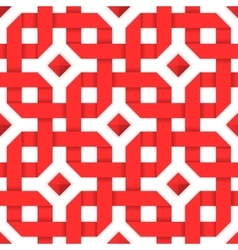 Interwoven red ribbons Seamless pattern vector image