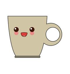 kawaii cup of coffee handle beverage cartoon vector image