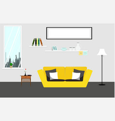 Living room with yellow sofa furniture of living vector