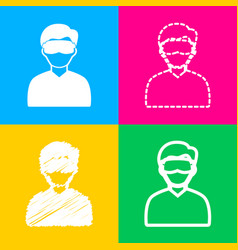 Man with sleeping mask sign four styles of icon vector