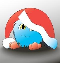 Monster cute cartoon blue christmas hat vector