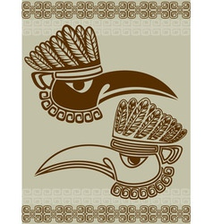 Native american raven mask with pattern stencil vector