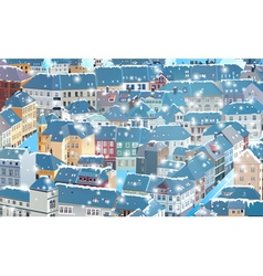 Old traditional europe city in winter vector