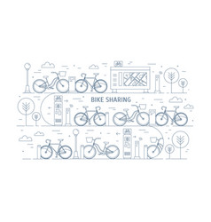 Rental bikes parked at docking stations on city vector