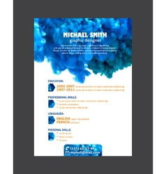 Resume template with watercolor swirling ink vector image