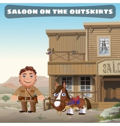 Saloon on the outskirts of town vector