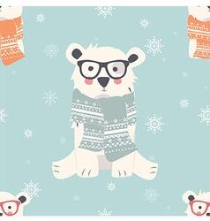 Seamless merry christmas pattern with polar bear vector