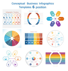 set templates infographics for six positions text vector image vector image