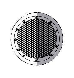 sticker silhouette circular metallic frame with vector image
