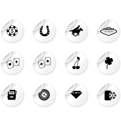 Stickers with Las Vegas icons vector image