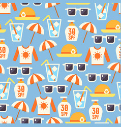 Sun protect seamless pattern with lotion sun vector