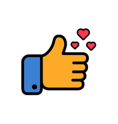 thumbs up and hearts sign colorful flat vector image