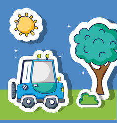 Transportation truck with sun and tree patches vector