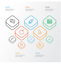User outline icons set collection of reload vector