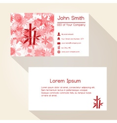 Red floral and bamboo business card design eps10 vector