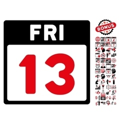 13 friday calendar page flat icon with vector