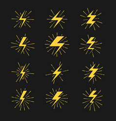 Lightning bolts icons set vector