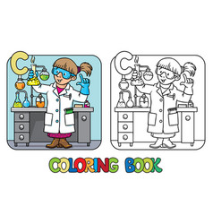 chemist coloring book profession abc alphabet c vector image