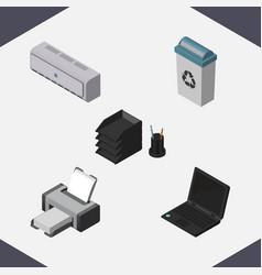 Isometric work set of desk file rack printing vector