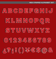 Red striped alphabet set vector