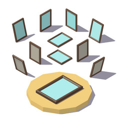 Isometric low poly picture frame vector