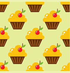 Little delicious cupcakes sweet dessert seamless vector