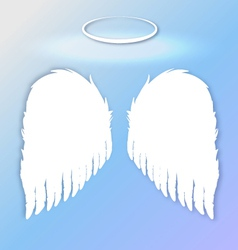 White angel wings on a blue gradient sky vector