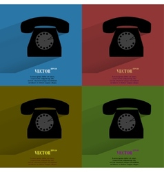 Color set retro telephone flat modern web button vector