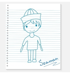 Boy on a notebook sheet vector