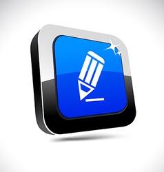 Pencil 3d square button vector