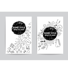 Card or page template hand drawn doodles vector