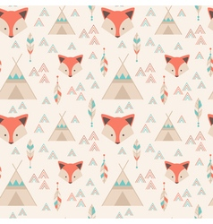 Cute tribal geometric seamless pattern in cartoon vector