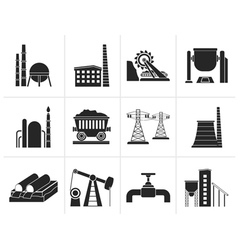 Black heavy industry icons vector