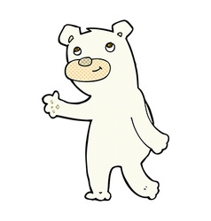 Cute comic cartoon polar bear vector