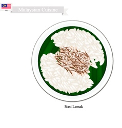 Nasi lemak or malaysian streamed rice in coconut vector