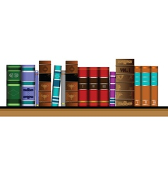 Bookshelf of old books vector